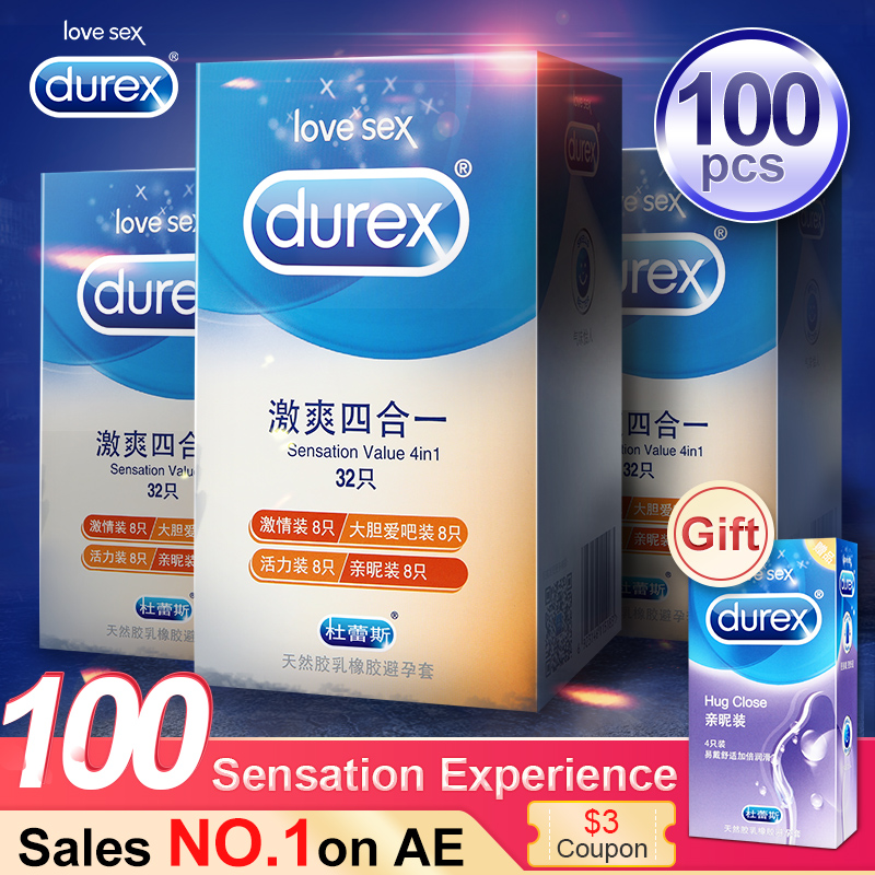 Durex condones 4 tipos 100 piezas Ultra delgado Polla condón íntimo productos sexo productos de látex de caucho Natural de pene sexo para los hombres