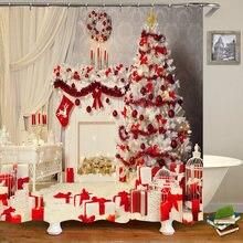 Рождественский фон занавески для ванной и душа прочные водонепроницаемые