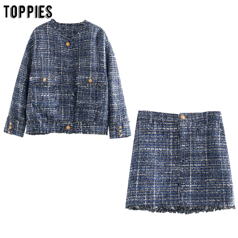 Toppies Vintage Lattice Twill Tweed Jacket Skirts Womens Sets Golden Button Jacket Boho Tassel Mini Skirts Ladies Two Piece Set