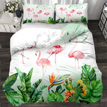 Sheet Pillowcase Bedding-Set Duvet-Cover Flamingo Green Luxury Family-Set Boys Red-3/4pcs