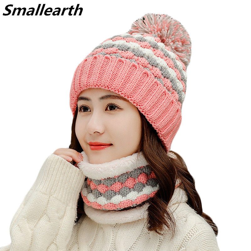 New Winter Pompom Hat And Scarf Set For Women Girls Plus Velvet Warm Caps Female Winter Casual Thick Knitted Hats 2 Pieces Set