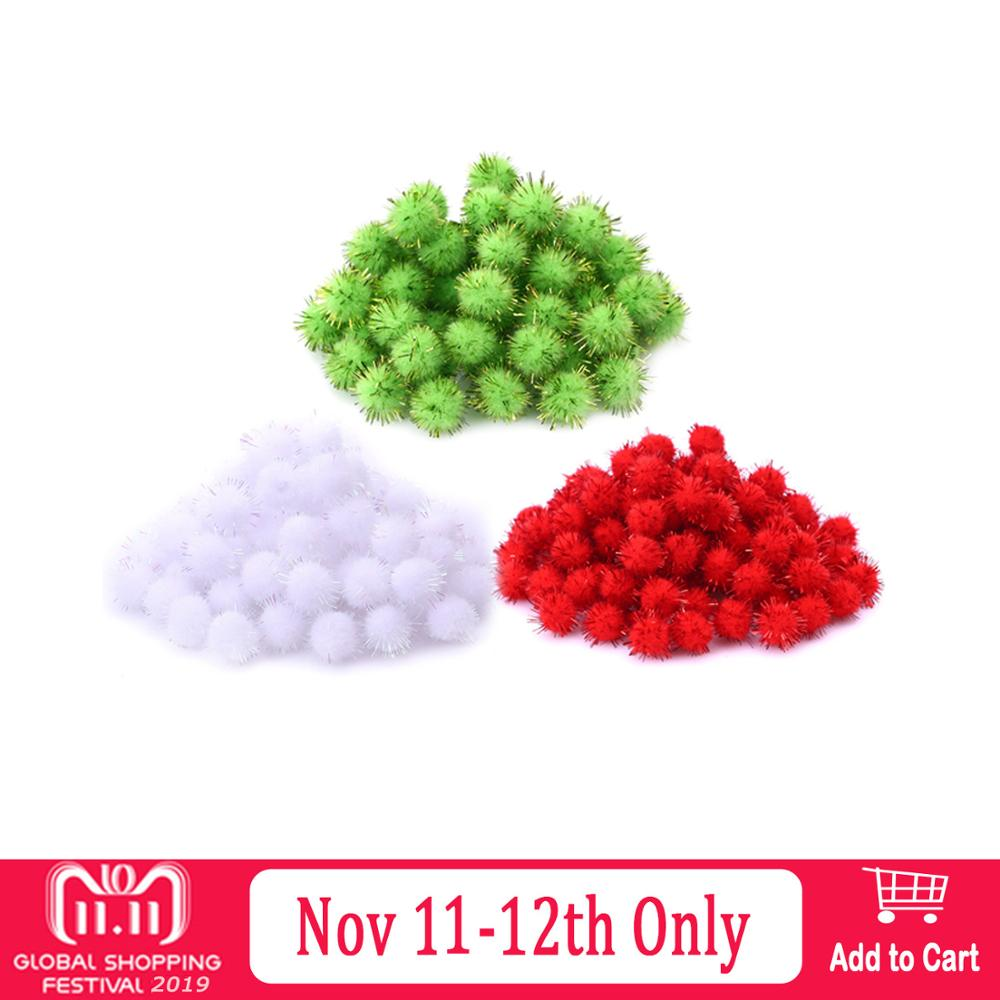 300PCS Mini Fluffy Christmas Pompoms Ball Red Green White Shining Bling Xmas Furball Pom Poms Handmade DIY Sewing Craft Toy