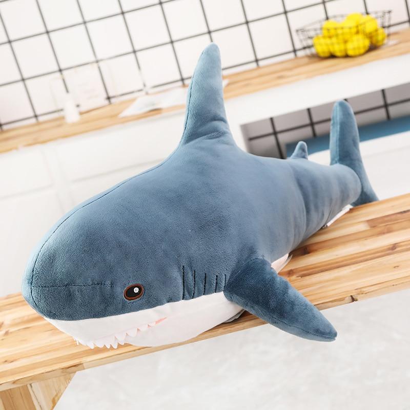 140CM Big Soft Simulation Cute Shark Plush Toys Kawaii Stuffed Kids Children Boys Girls Lovely Animal Pillow for Birthday Gifts