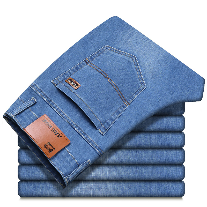 2021 spring and summer lightweight fitted straight jeans classic brand leather business casual men's cotton stretch denim jeans