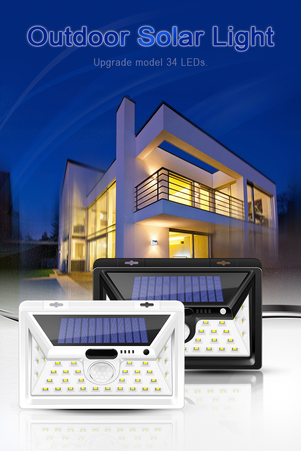 Solar lights Outdoor Motion sensor wall lamps Waterproof Emergency light