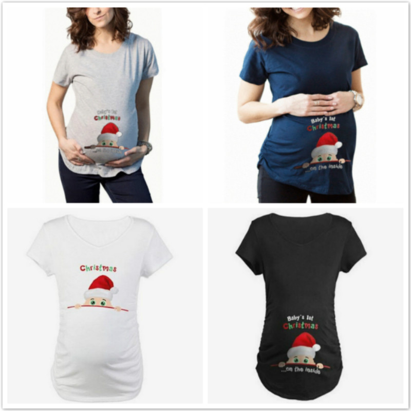 Christmas Maternity Clothing Summer Pregnant Maternity T Shirts Short Sleeve Casual Tees Pregnancy Clothes Funny Pregnant Tops