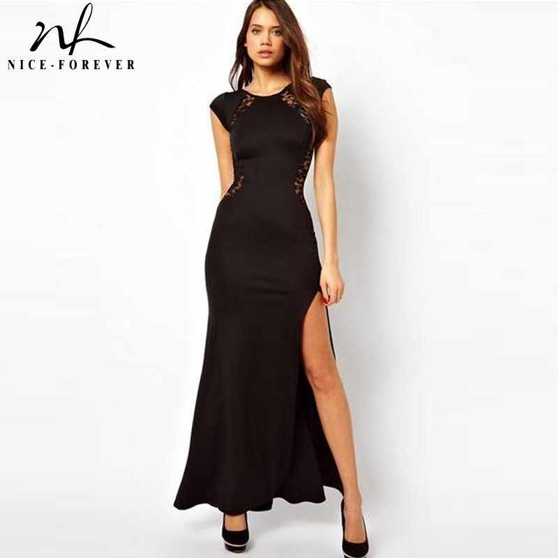 Nice-Altijd Sexy Back Lace Patchwork Elegante Jurken Fashion Party Slim Bodycon Maxi Vrouwen Jurk 731