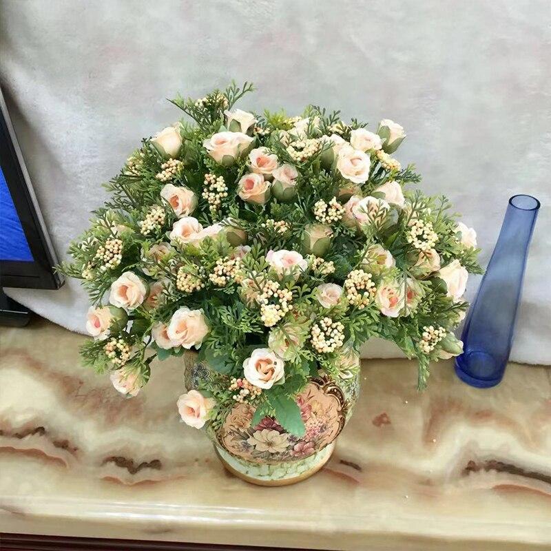 15 cabeças eterna rosa artificial decoração outono decoração flores artificiais diy para o casamento casa decoração de natal flores