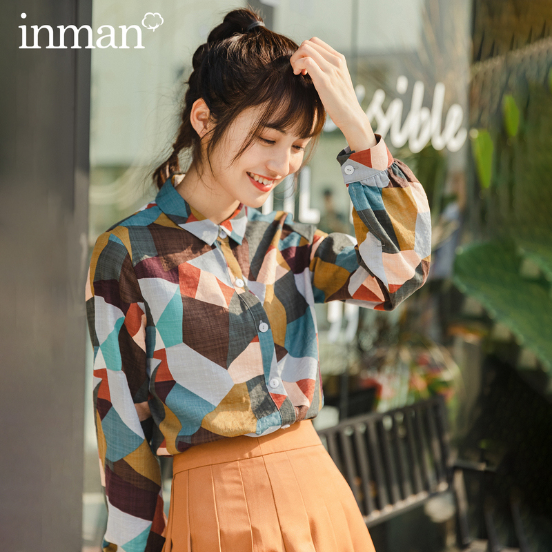 Loose  INMAN 2020 Spring New Arrival Literary Retro Patch Contrast Color Lapel Single-breasted Loose Long Sleeve Shirt Blouse