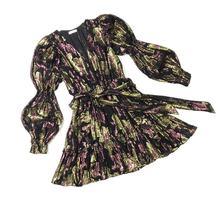 Женское дизайнерское платье с длинным рукавом фонариком элегантное