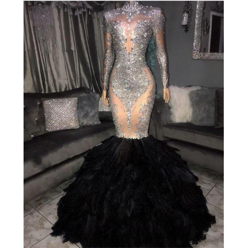 New Designer Mermaid Prom Dresses 2020 Feathers Skirt Long Sleeve Evening Dress Satin Applique Sequin Vestidos De Fiesta