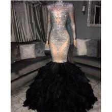 Nowy projektant Mermaid suknie balowe 2020 piór spódnica z długim rękawem suknia satynowa aplikacja cekiny Vestidos de fiesta