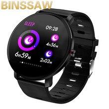 Binssee كامل شاشة تعمل باللمس IP68 مقاوم للماء متعددة الوظائف الرياضة سوار ذكي معدل ضربات القلب المقتفي ضغط الدم Smartwatch