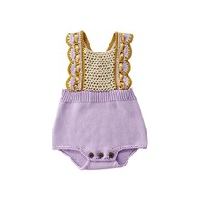 Fashion Knitted Baby Clothes Newborn Baby Girl Clothes 100% Cotton Handmade Infant Boys Girl Jumpsuit Overalls Baby Girl Romper цена и фото