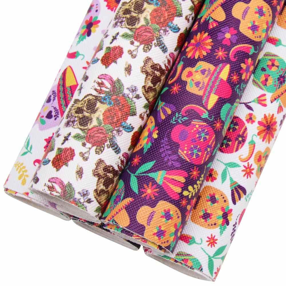 JOJO łuki 22*30cm 1pc Halloween Faux skóry syntetycznej tkaniny dla rzemiosła Shantou wydrukowany arkusz do robótek ręcznych strona dekoracji