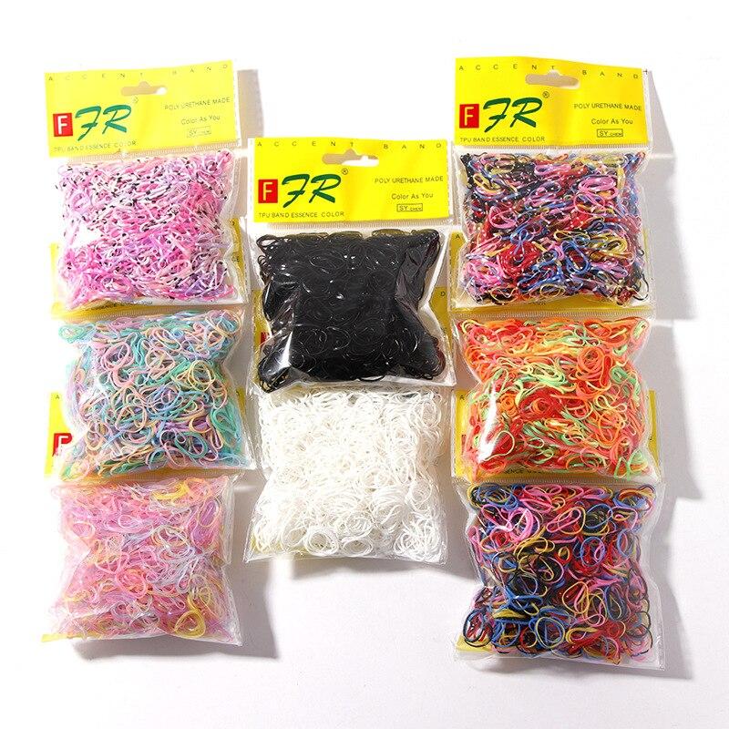 1000pcs/Lot Ponytail Holder Elastic Hair Band Disposable Gum For Hair Children TPU Rubber Bands Girls Scrunchie Hair Accessories