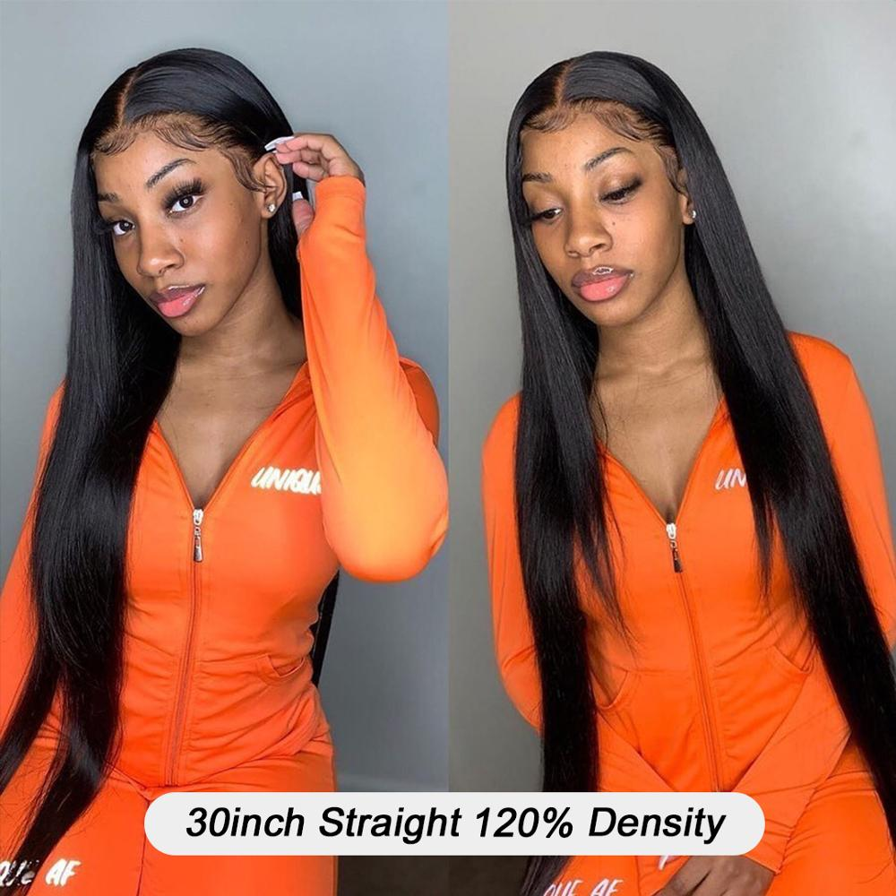 YYong 1x6 T Lace Part Wig HD Transparent Lace Part  Wig   Straight Part Lace Wig Middle Part 30 32inch 4
