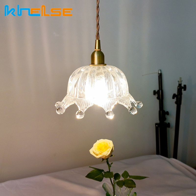 Glass Crown Pendant Lamp Single-head Dining Room Bedroom Living Room Indoor Pendant Light Brass Lamp Indoor Lighting