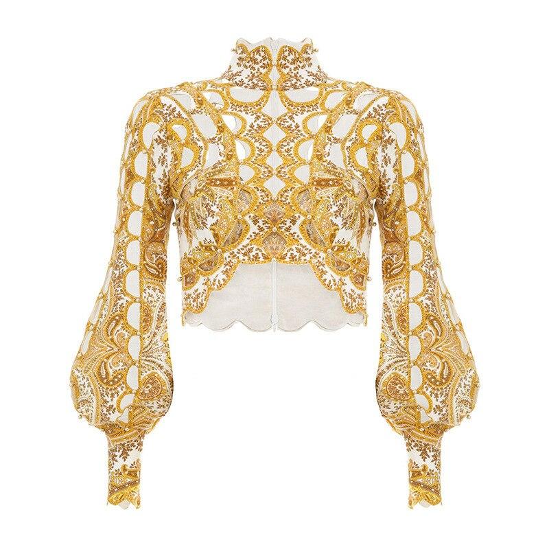 Nouveau travail lourd évidé lanterne manches doré Court paiement reçu taille chemise Blouse femmes - 5