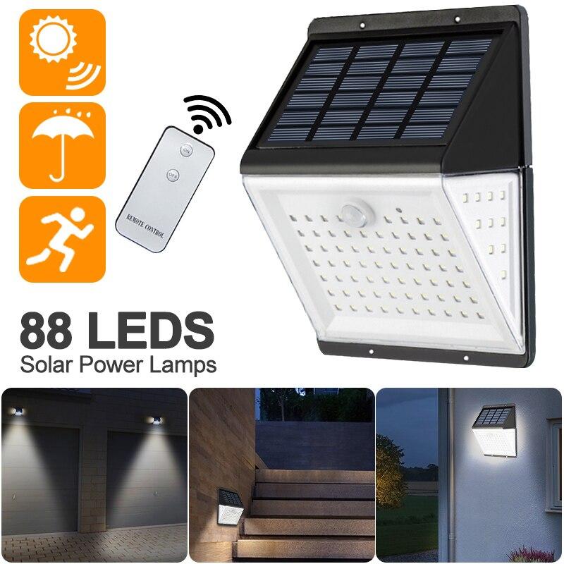 1/2pcs Solar Power Lamp PIR Motion Sensor 88 LED Solar Wall Light Outdoor Waterproof IP65 Garden Yard Lamps With Remote Control