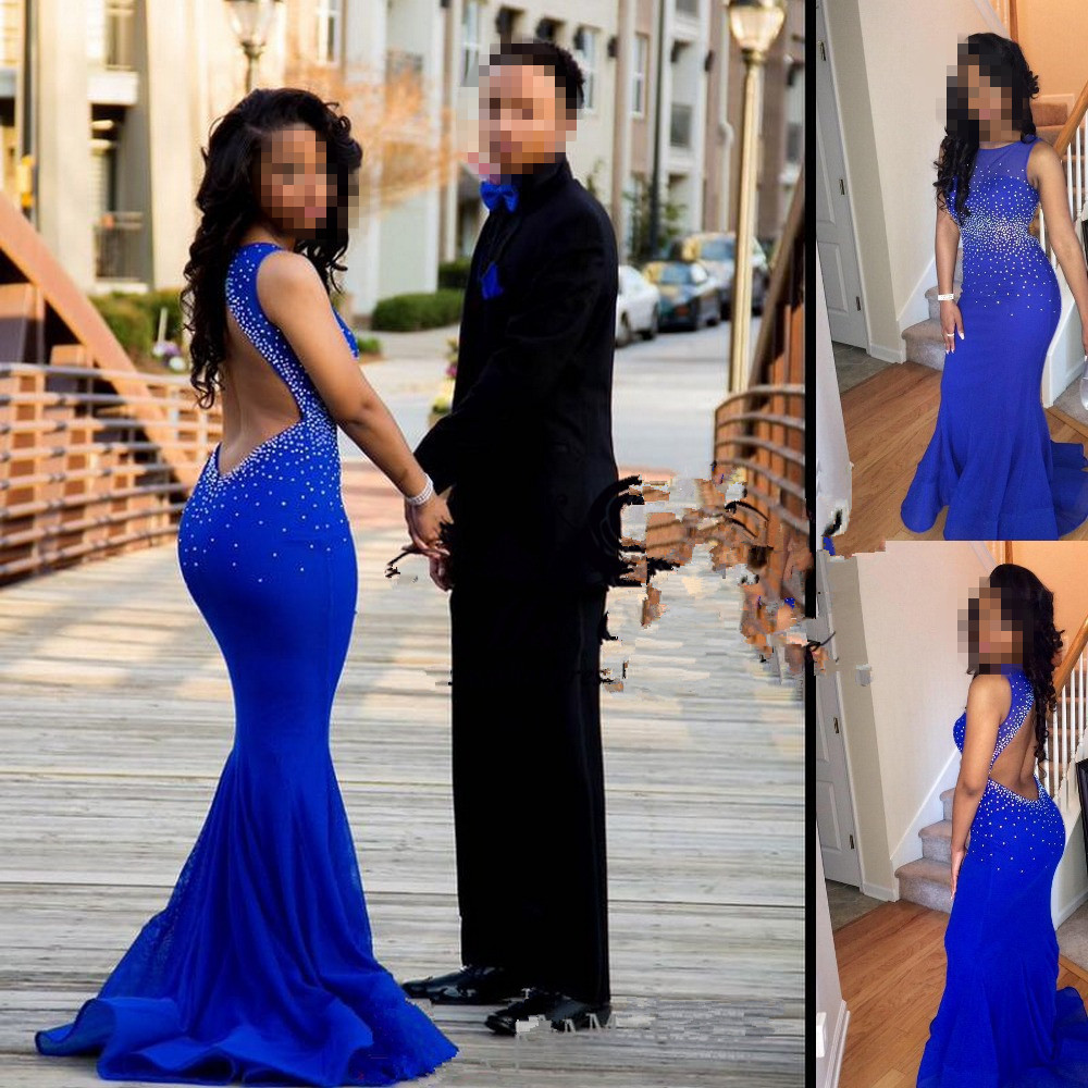 Sexy Sleeveless Open Back Royal Blue Evening Gown Mermaid Beaded Party 2018 Vestidos De Formatura Prom Mother Of The Bride Dress