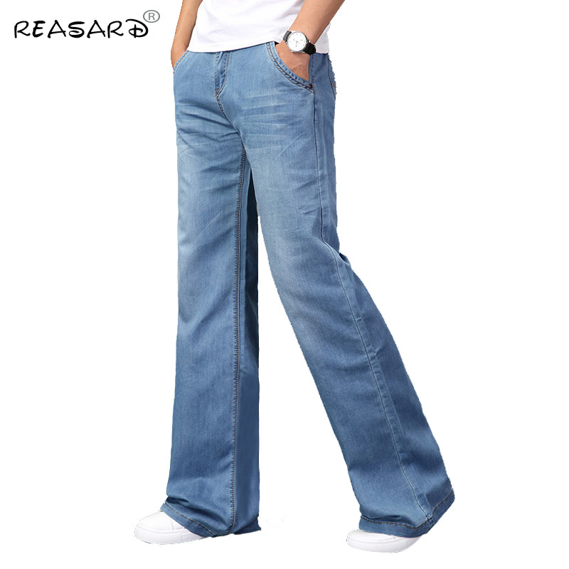 Jeans Men 2019 Mens Modis Big Flared Jeans Boot Cut Leg Flared Loose Fit High Waist Male Designer Classic Blue Denim Jeans