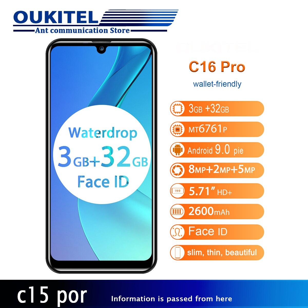 OUKITEL C16 Pro 3 ГБ 32 ГБ смартфон отпечаток пальца Лицо ID Водонепроницаемая капля экран 5 В/1A 4G мобильный телефон 5,71 ''Android 9,0 19:9 MT6761P
