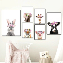 Elephant Giraffe Tiger Rabbit Cow Pig Wall Art Print Canvas Painting Nordic Posters And Prints Pictures For Kids Room Decor