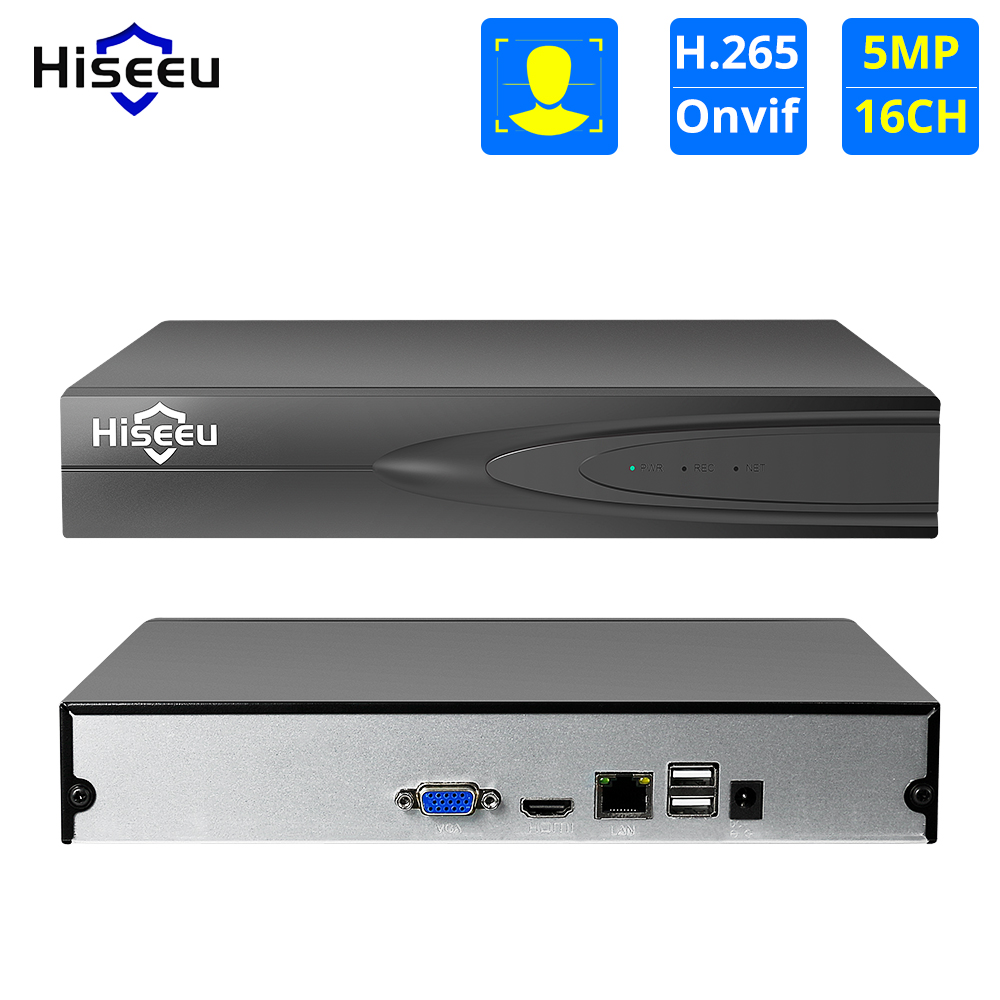 Hiseeu H 265 HEVC 8CH 16CH CCTV NVR for 5MP 4MP 3MP 2MP ONVIF 2 0 IP Camera metal network video recorder P2P for cctv system