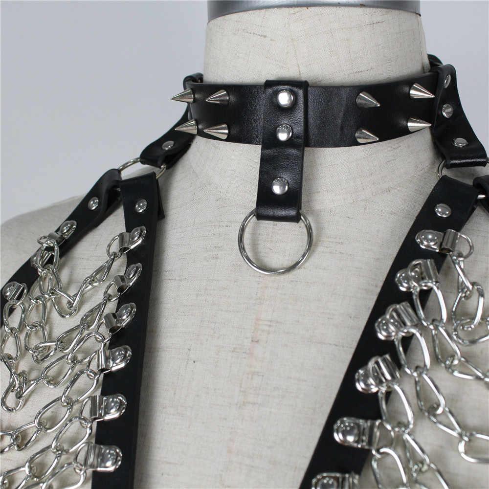 Rave Bondage Collar Harness Body with Metal Chain Bondage Dress Fetish Lingerie Women Belts Sexy Garters Burningman Fetish