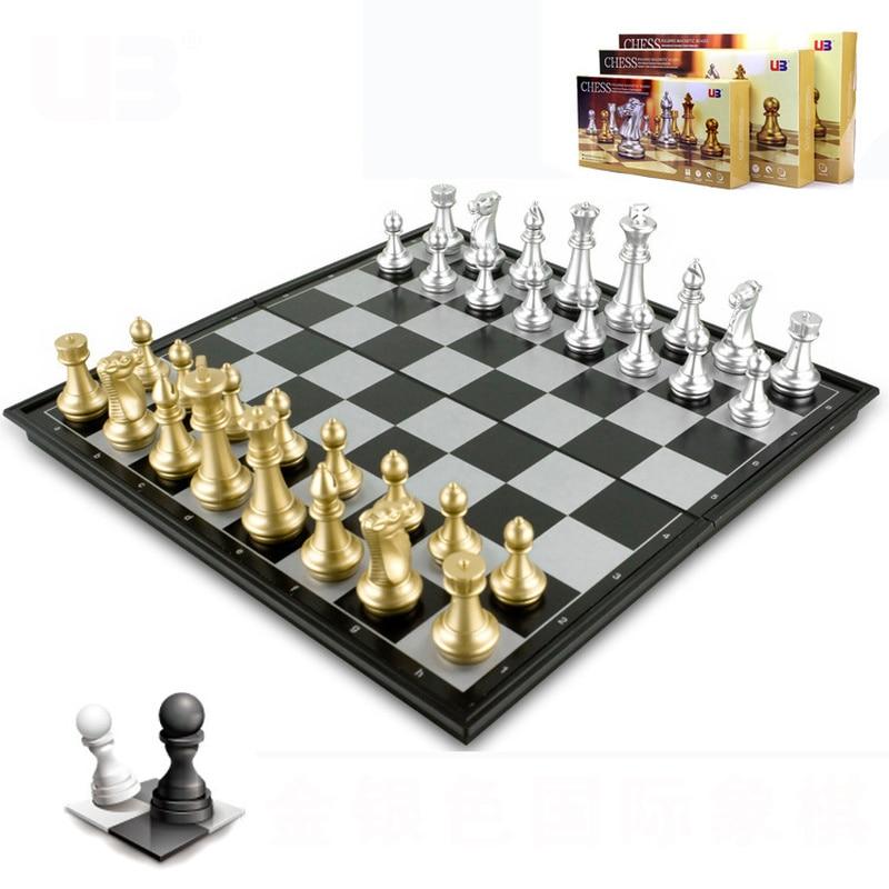 3 размера складной магнитный дорожный Шахматный набор для детей или взрослых шахматы, настольные игры (золотые и серебряные шахматы)