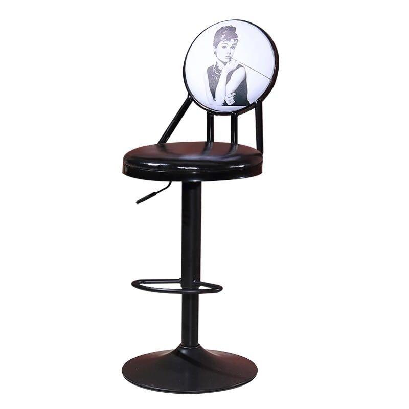 Bar Chair Lift Bar Stool Home Back Rotation High Stool Creative Front Desk Chair Retro Bar Stool Simple