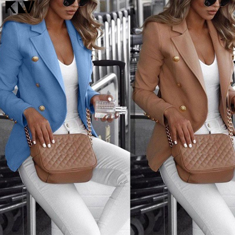 Women Plus Size Long Sleeve Open Front Blazer Double Breasted Solid Color Thin Jacket Notched Lapel Collar Formal Coat S-5XL