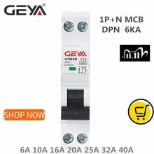 GEYA GYM9N DPN MCB 1P + N 6A 10A 16A 20A 25A 32A 40A 220V AC Mini disyuntor 6KA