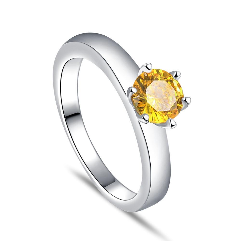 Классический 6 зубцов 925 Серебряное кольцо для женщин желтый золотой цвет Цирконий для лучших друзей ювелирные изделия