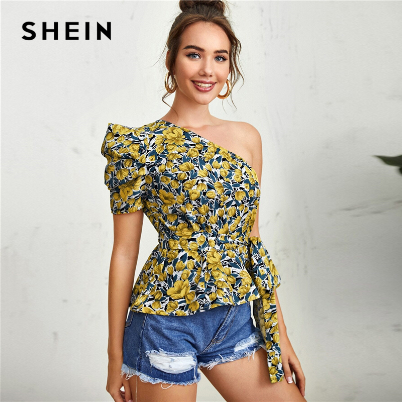 SHEIN Multicolor One Shoulder Puff Sleeve Belted Floral Top Peplum Blouse Women 2020 Summer Ladies Boho Tops and Blouses(China)