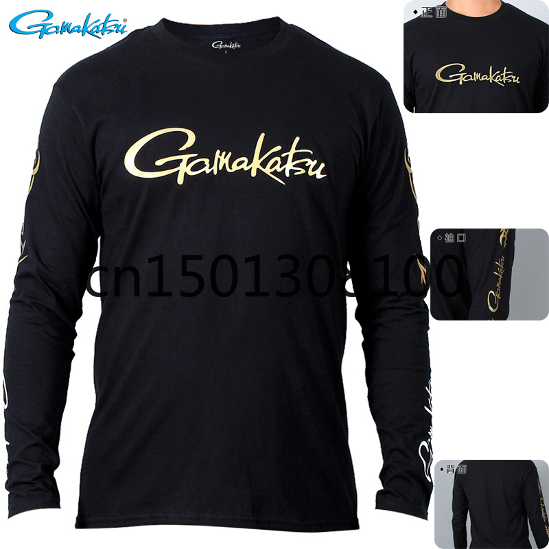 Gamakatsu Spring Autumn Fishing Tshirt Long Sleeve Round Neck Breathable Fishing Top Quick Drying Anti-UV Clothing For Fishing