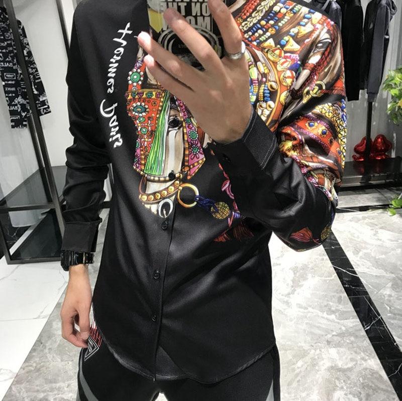 Europe hommes chemise noire à manches longues régulière cheval imprimé chemises homme mode ville Social Camisa Slim Fit vêtements automne M-3XL