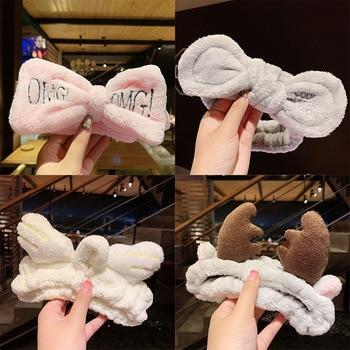 Wash Headband Rabbit Antlers Cat Ear OMG Headbands Women Makeup Hairband Hair Hoop Plush Bow Elastic Head Band Hair Accessories цена 2017