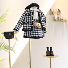 Free shipping Spring Autumn New Arrival Girls Fashion plaid 2 Pieces Suit Coat+skirt Kids T