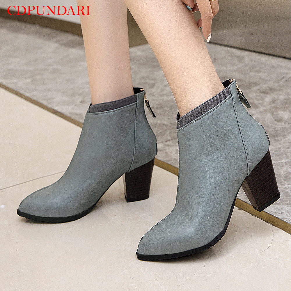 Pointed Toe zipper Ankle boots for women High heels boots Ladies Casual autumn Short boots shoes black