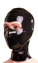 Ручной работы черный латекс Вытяжки Маска с открытым «большие глаза», латексная маска для косплея индивидуальный заказ