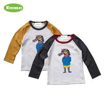 цена на 2019 High quality spring autumn cotton long sleeve boys and girls white T-Shirt ,with cute zebra comfortable kids clothes