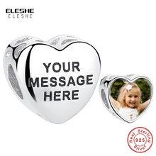 Eleshe pessoal personalizado foto charme 925 prata esterlina original gravar carta charme contas caber pandora pulseira feminino jóias