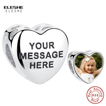 ELESHE Personal Custom Photo Charm 925 Sterling Silver Original Engrave Letter Beads fit Pandora Bracelet Women Jewelry