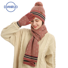Hat Scarf Gloves Women's Warm Winter Fashion And Q485 Thicken-Caps Knitted DIANRUO Windproof