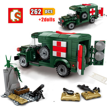 sembo block ww2 technic ww2 us f4u spitfire fighter war amry airplane military technic building brick construction toy for child SEMBO 262pcs Military Ambulance Building Block Compatible WW2 vehicle Army truck US Soldier Bricks Educational toys for children