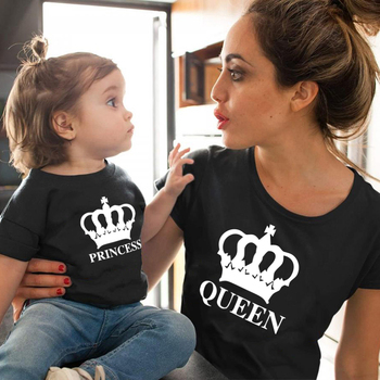Crown Princess Family matching clothes mommy and me mother daughter mom baby girl Cotton tshirt