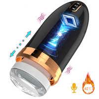 Automatic Telescopic Piston Male Masturbator Vibrator Heating Moan Voice Vagina Real Pussy Masturbation Cup Sex Toys For Woman