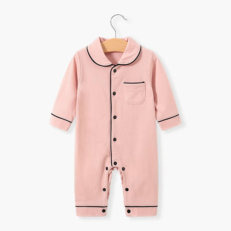Spring And Autumn Lapel Long Sleeve Single Breasted Baby Climbing Suit Baby Pajamas Cotton Casual Newborn Clothes